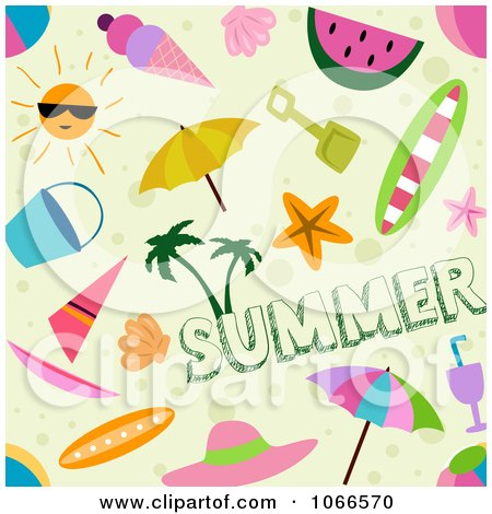 Clipart Seamless Summer Time Background Pattern - Royalty Free Vector Illustration by BNP Design Studio