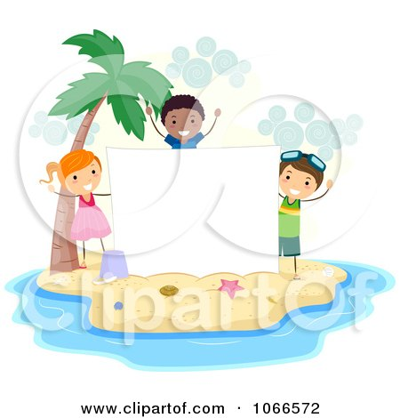 Clipart Stick Kids With A Blank Sign On An Island - Royalty Free Vector Illustration by BNP Design Studio