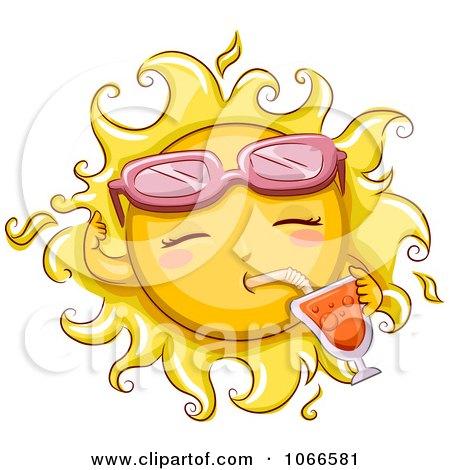 Clipart Summer Sun Drinking Juice - Royalty Free Vector Illustration by BNP Design Studio