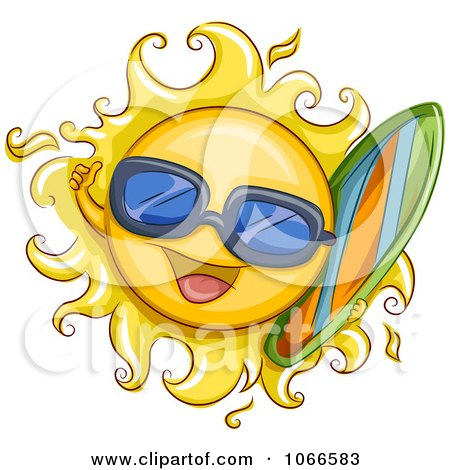 Clipart Summer Sun Carrying A Surf Board - Royalty Free Vector Illustration by BNP Design Studio