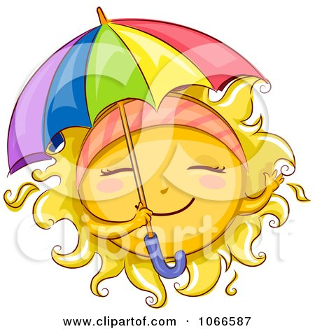 Clipart Summer Sun With A Parasol - Royalty Free Vector Illustration by BNP Design Studio