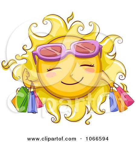 Clipart Summer Sun Shopping - Royalty Free Vector Illustration by BNP Design Studio