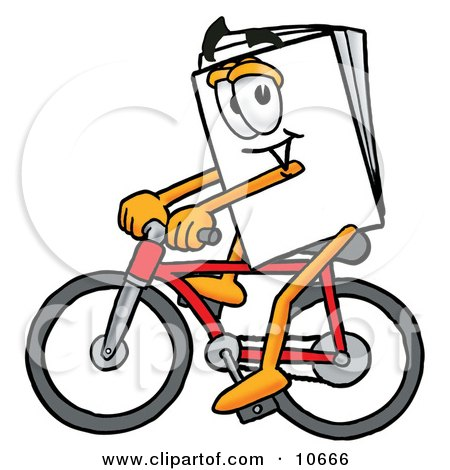 Clipart Picture of a Paper Mascot Cartoon Character Riding a Bicycle by Toons4Biz