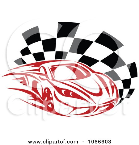 Clipart Red Race Car And Checkered Flag - Royalty Free Vector Illustration by Vector Tradition SM