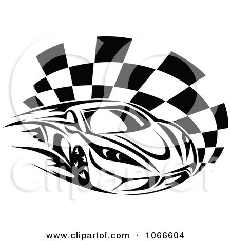Clipart Black And White Race Car And Checkered Flag 1 - Royalty Free Vector Illustration by Vector Tradition SM