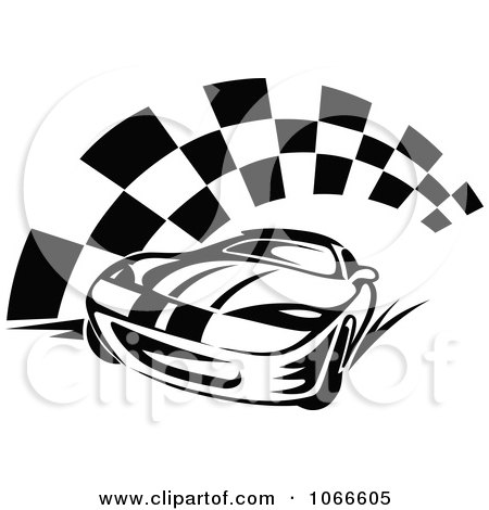 Clipart Black And White Race Car And Checkered Flag 2 - Royalty Free Vector Illustration by Vector Tradition SM