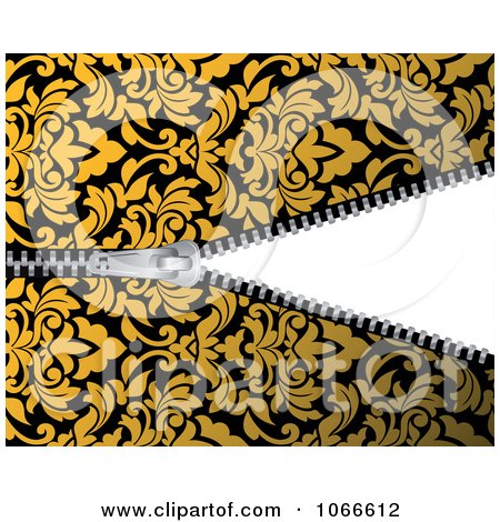 Clipart Yellow Damask Pattern And Revealing Zipper - Royalty Free Vector Illustration by Vector Tradition SM