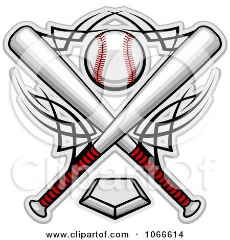 Clipart Crossed Bats And A Baseball Over A Home Plate - Royalty Free Vector Illustration by Vector Tradition SM