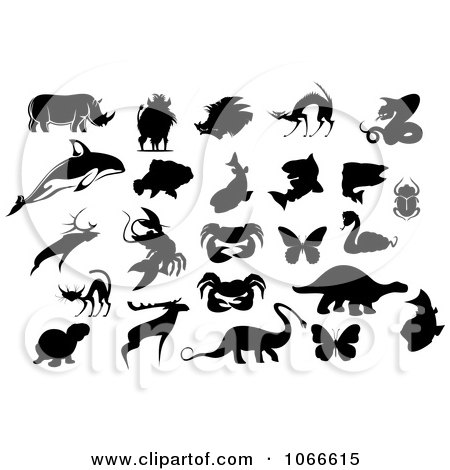 Clipart Silhouetted Animal Collage - Royalty Free Vector Illustration by Vector Tradition SM