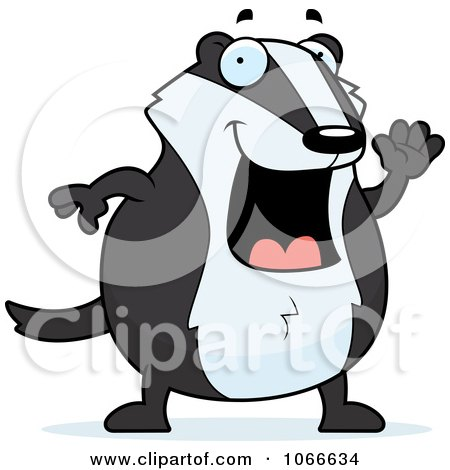 Clipart Pudgy Badger Waving - Royalty Free Vector Illustration by Cory Thoman