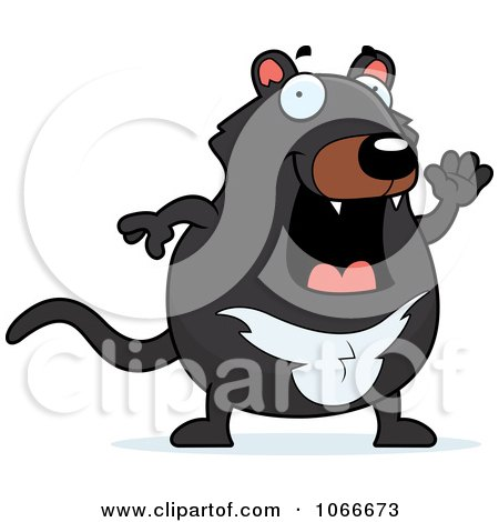 Clipart Pudgy Tazmanian Devil Waving - Royalty Free Vector Illustration by Cory Thoman