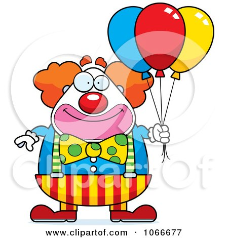 Clipart Pudgy Circus Clown With Party Balloons - Royalty Free Vector Illustration by Cory Thoman