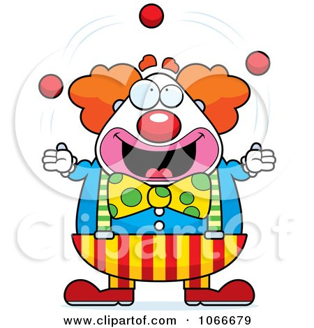 Clipart Pudgy Circus Clown Juggling - Royalty Free Vector Illustration by Cory Thoman