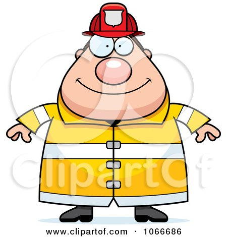 Clipart Pudgy Fireman - Royalty Free Vector Illustration by Cory Thoman