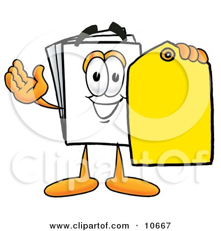 Clipart Picture of a Paper Mascot Cartoon Character Holding a Yellow Sales Price Tag by Toons4Biz