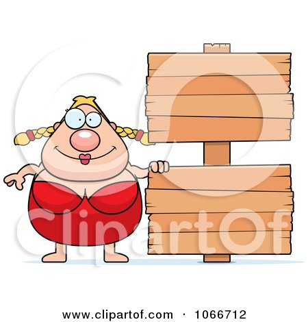 Clipart Pudgy Female Swimmer With A Sign - Royalty Free Vector Illustration by Cory Thoman