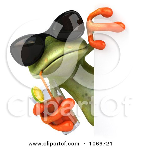 Clipart 3d Springer Frog With A Beverage And Blank Sign - Royalty Free CGI Illustration by Julos