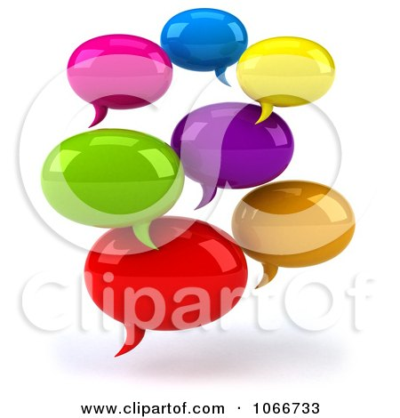 Clipart 3d Colorful Social Networking Chat Balloons - Royalty Free CGI Illustration by Julos