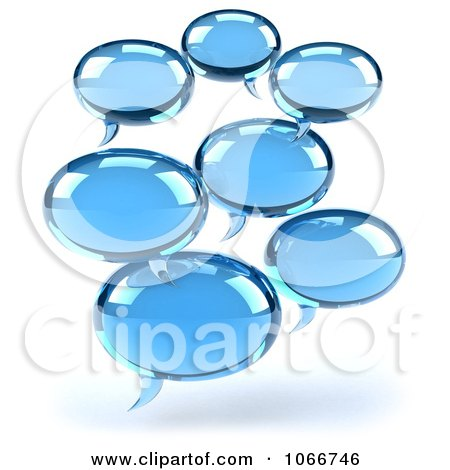 Clipart 3d Blue Social Networking Chat Balloons 2 - Royalty Free CGI Illustration by Julos