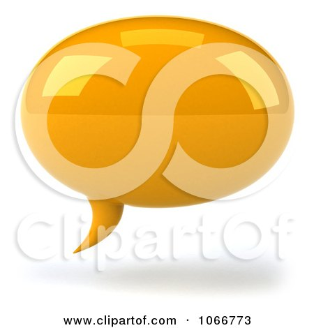 Clipart 3d Yellow Chat Balloon - Royalty Free CGI Illustration by Julos