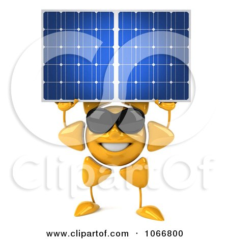 Clipart 3d Sun Guy Holding A Solar Panel - Royalty Free CGI Illustration by Julos