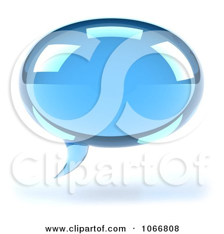 Clipart 3d Blue Chat Balloon - Royalty Free CGI Illustration by Julos