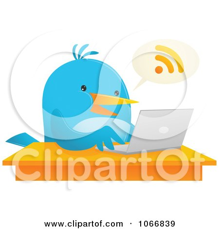 Clipart Bluebird Blogging On A Laptop - Royalty Free Vector Illustration by Qiun