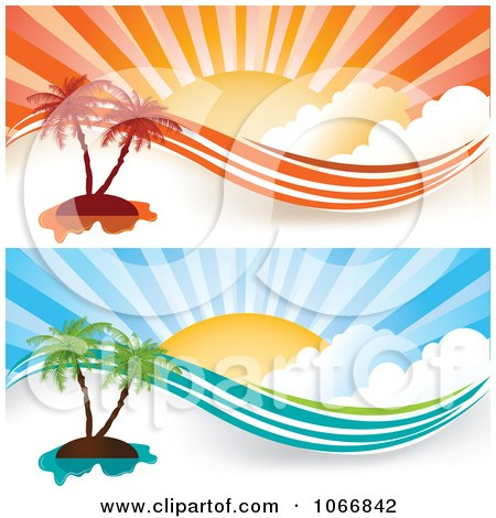 Clipart Orange And Blue Tropical Island Website Banners - Royalty Free Vector Illustration  by MilsiArt