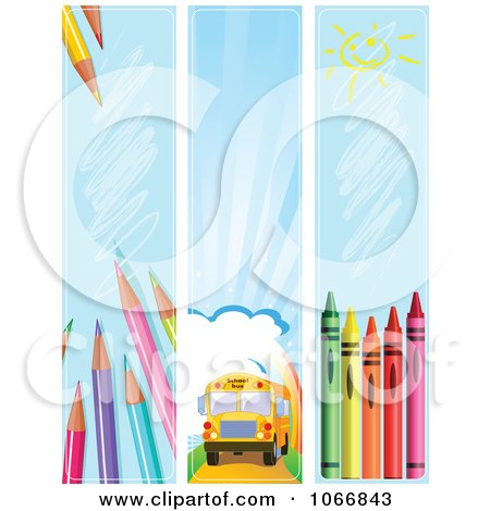 Clipart Back To School Vertical Website Banners - Royalty Free Vector Illustration by Pushkin