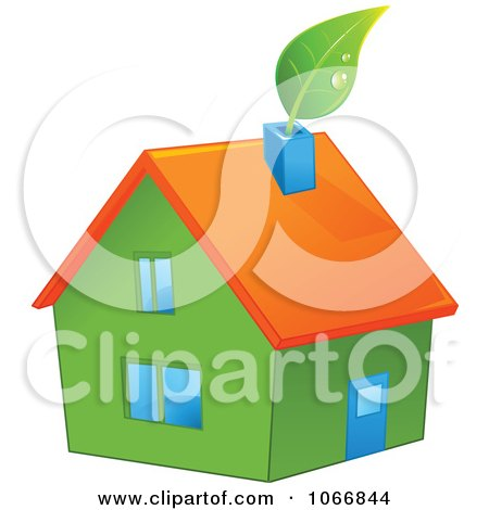 Clipart Green House With An Orange Roof - Royalty Free Vector Illustration by Pushkin