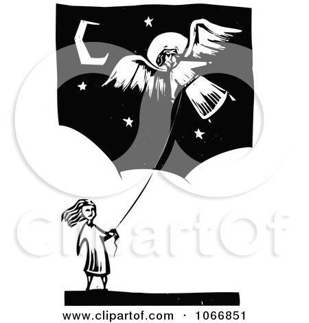 Clipart Girl Flying An Angel Kite - Royalty Free Vector Illustration by xunantunich