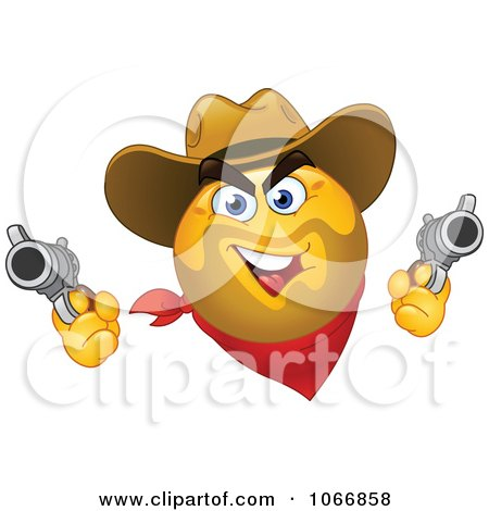 Clipart Western Cowboy Emoticon Shooting - Royalty Free Vector Illustration by yayayoyo