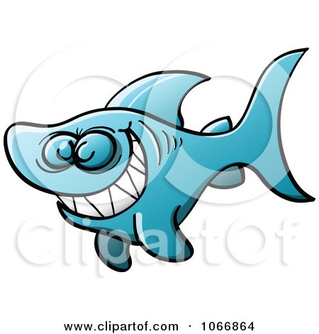 Clipart Blue Naughty Shark Grinning - Royalty Free Vector Illustration by Zooco