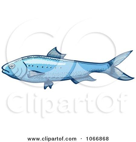 Clipart Blue Sardina Fish - Royalty Free Vector Illustration by Zooco