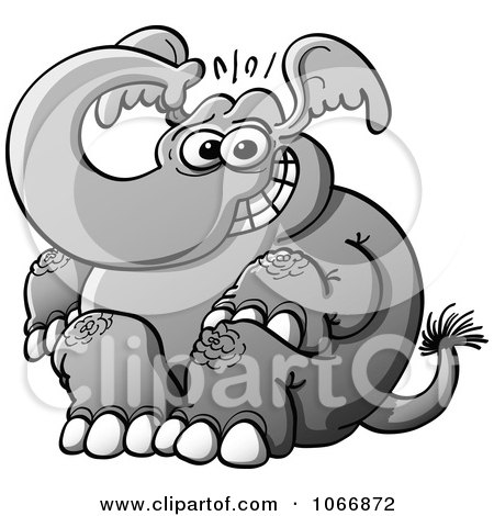 Clipart Nervous Elephant Sitting - Royalty Free Vector Illustration by Zooco