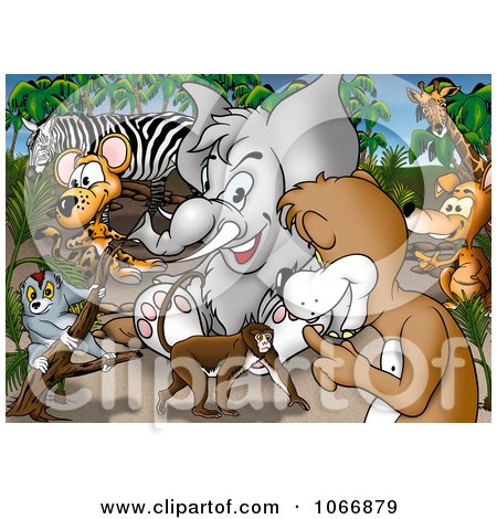 Clipart Crowd Of Safari Animals - Royalty Free Illustration by dero