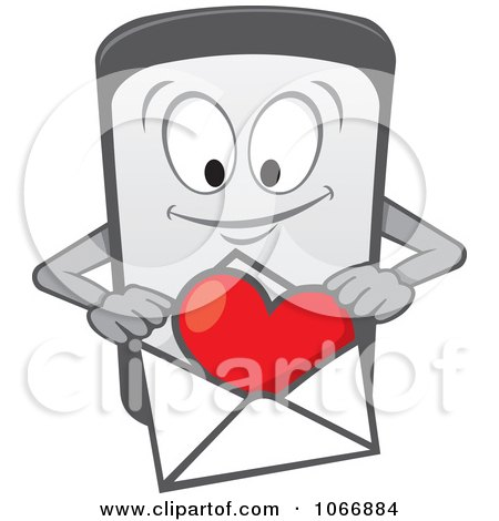 Clipart Cell Phone Character With A Love Letter - Royalty Free Vector Illustration by Any Vector