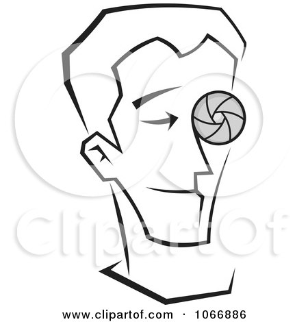 Clipart Male Photographer With A Lens Eye - Royalty Free Vector Illustration by Any Vector
