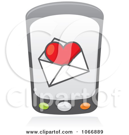 Clipart Cell Phone With A Love Letter - Royalty Free Vector Illustration by Any Vector