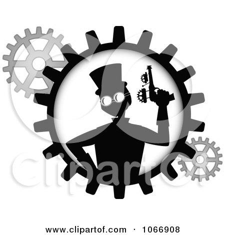 Clipart Silhouetted Steampunk Man With A Gun In A Gear - Royalty Free Vector Illustration by mheld
