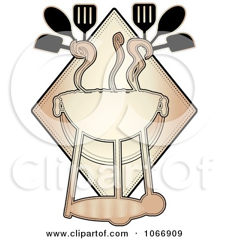 Clipart Bbq With Utensils Logo - Royalty Free Vector Illustration by mheld