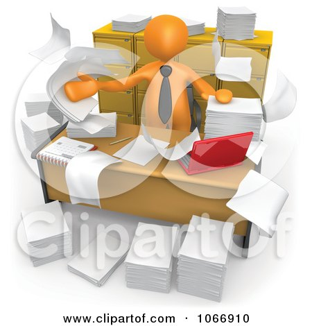 Clipart 3d Orange Businessman In A Messy Office - Royalty Free CGI Illustration by 3poD