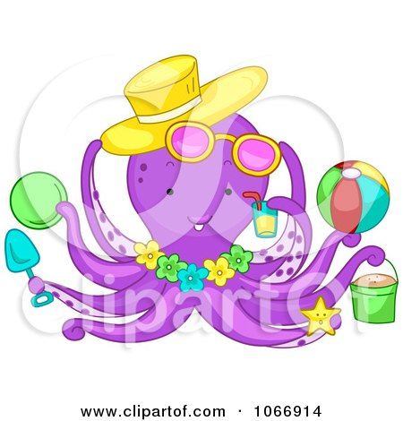 Clipart Summer Octopus With Beach Items - Royalty Free Vector Illustration by BNP Design Studio