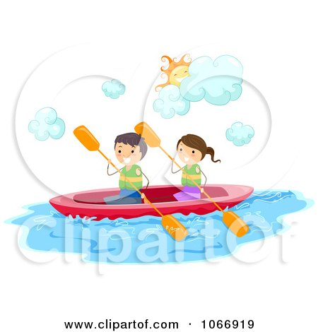 Clipart Stick Kids Kayaking - Royalty Free Vector Illustration by BNP Design Studio