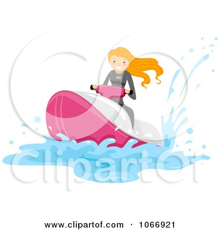 Clipart Woman On A Jetski - Royalty Free Vector Illustration by BNP Design Studio