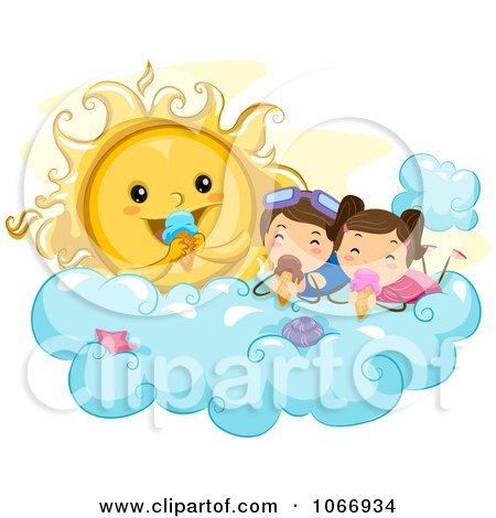 Clipart Stick Kids And Sun Eating Ice Cream - Royalty Free Vector Illustration by BNP Design Studio