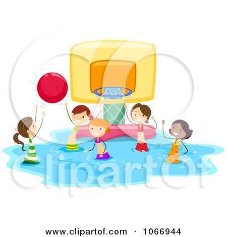 Clipart Stick Kids Playing Water Basketball - Royalty Free Vector Illustration by BNP Design Studio