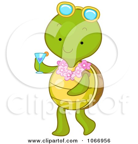 Clipart Summer Tortoise Carrying A Beverage - Royalty Free Vector Illustration by BNP Design Studio