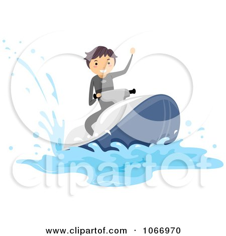 Clipart Stick Boy Riding A Waverunner - Royalty Free Vector Illustration by BNP Design Studio