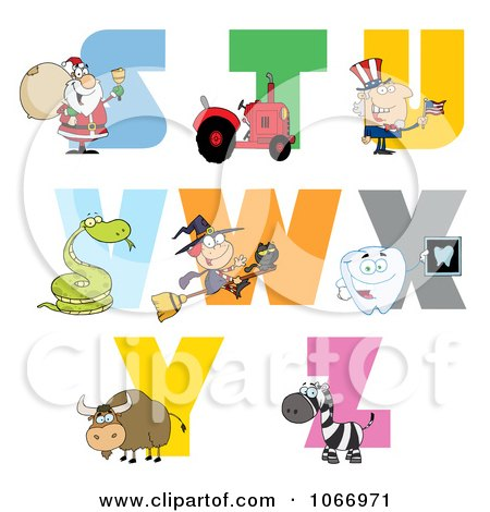 Clipart Visual Alphabet S Through Z - Royalty Free Vector Illustration by Hit Toon